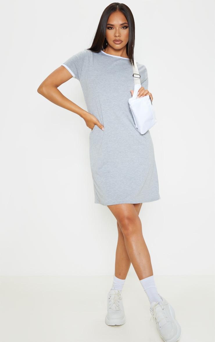 Grey Contrast Trim Jersey T Shirt Dress 1