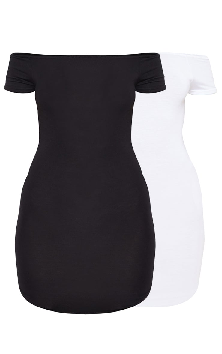 2 Pack White & Black Basic Bardot Bodycon Dress 3