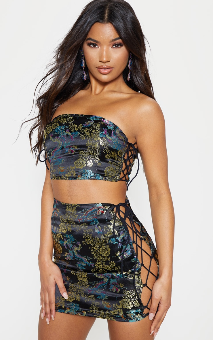 Black Oriental Jacquard Strappy Mini Skirt 2