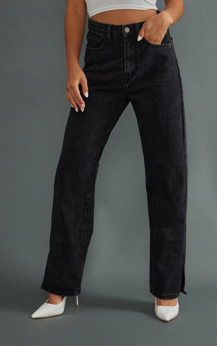 Petite Black Split Hem Jeans 2