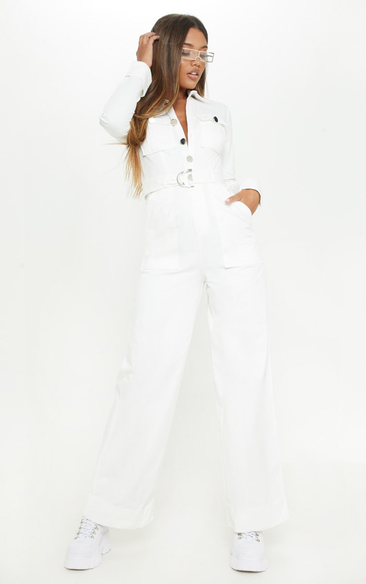 White Pocket Detail Wide Leg Utility Jumpsuit  1