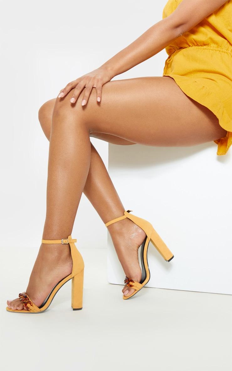Mustard Tortoise Chain Detail Block Heel Sandal 3