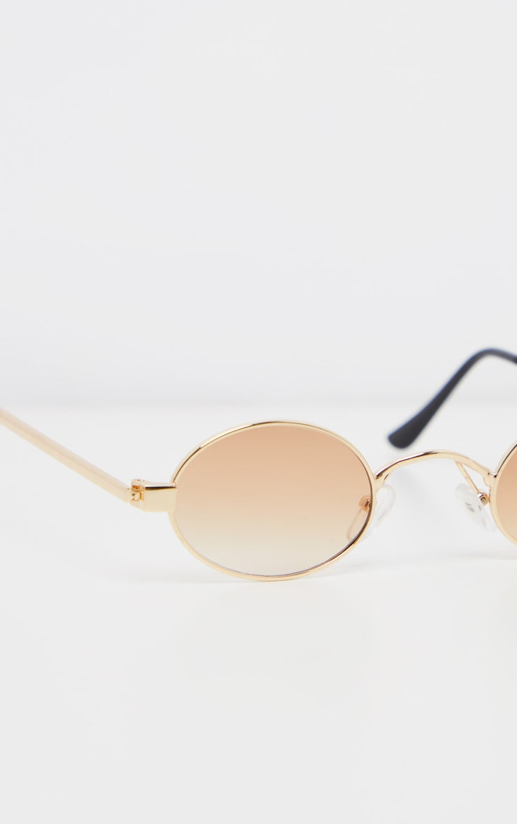 Brown Small Squashed Round Lens Sunglasses  3