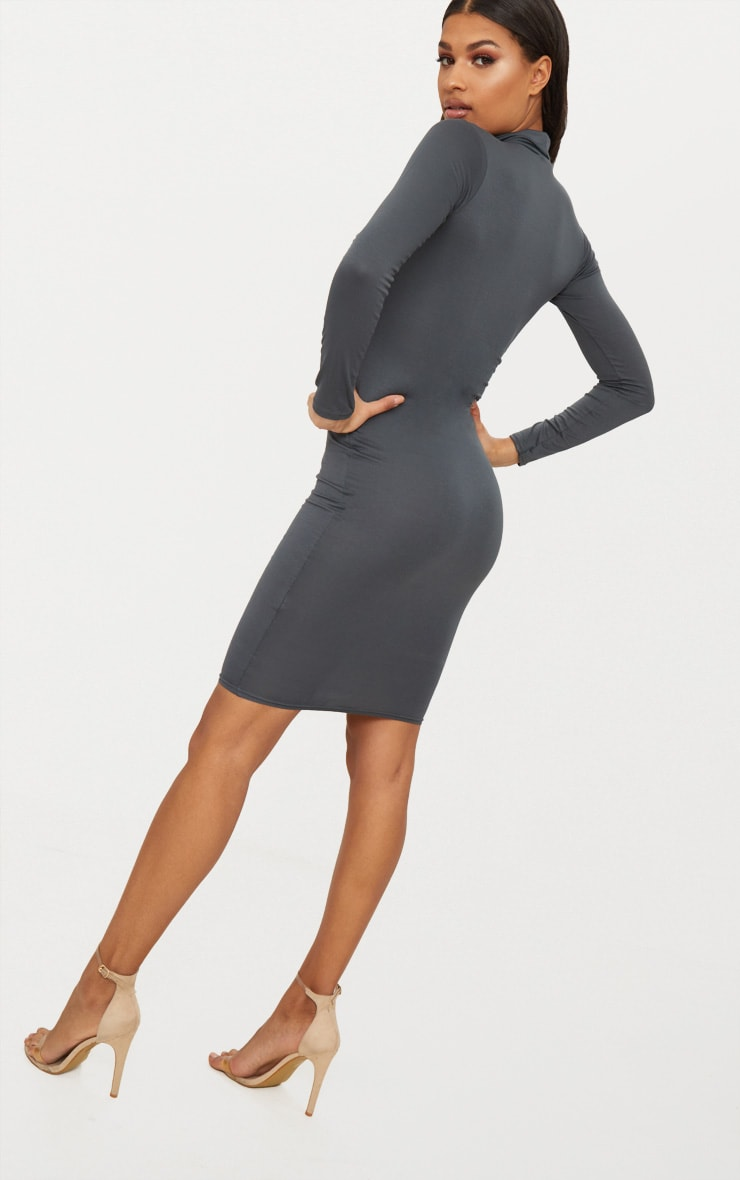 Basic Charcoal Grey Roll Neck Midi Dress 2