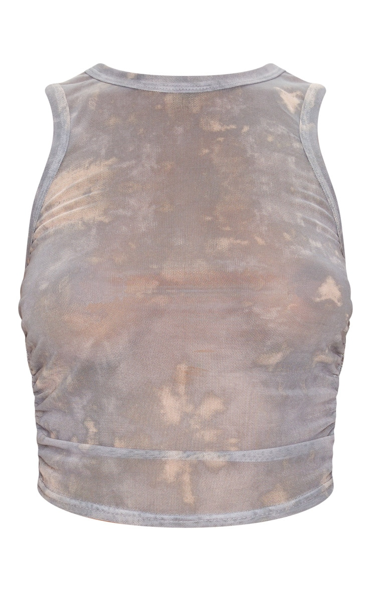 Grey Tie Dye Printed Sheer Mesh Ruched Racer Crop Top 3