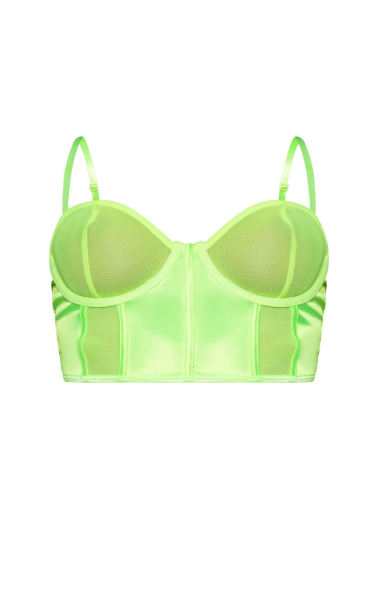 Lime Satin And Mesh Panel Underwired Longline Bra 4