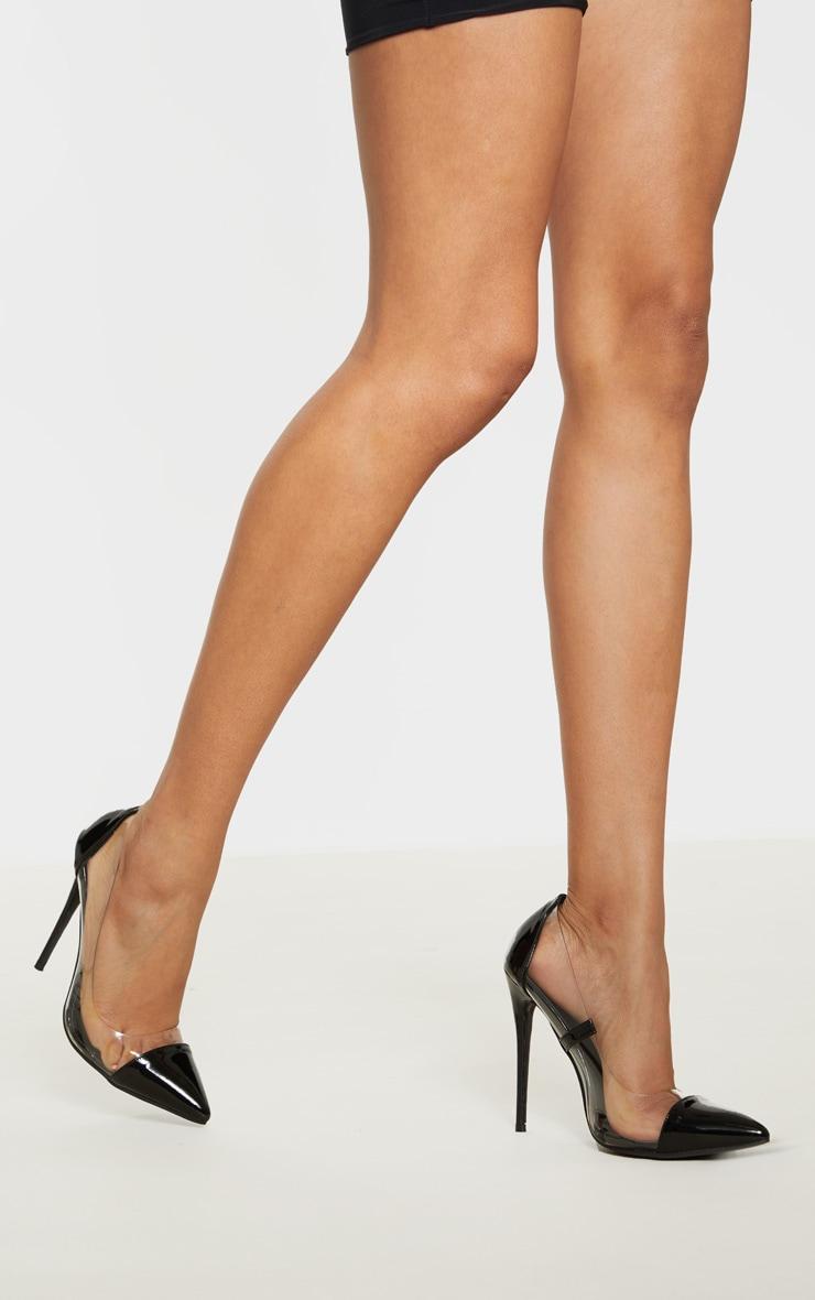 Black Patent Clear Court Shoes  5