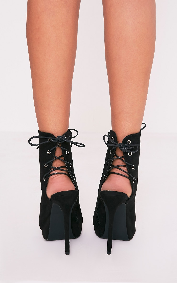 Kasen Black Lace Up Heeled Boots 4