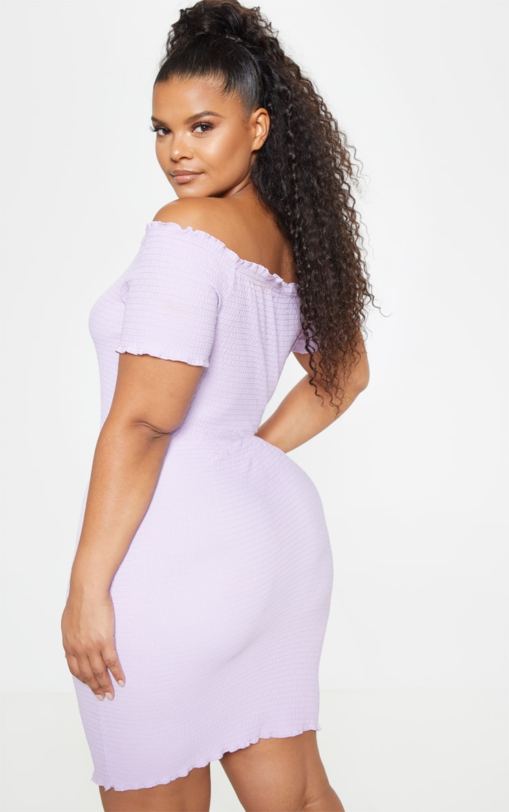 Plus Lilac Textured Bardot Puff Sleeve Bodycon Dress  2