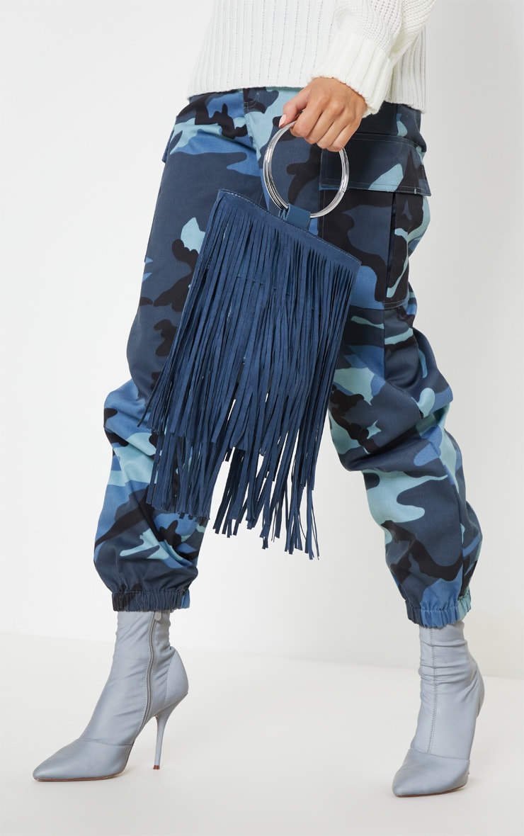 Teal Suedette Fringe Grab Bag 1