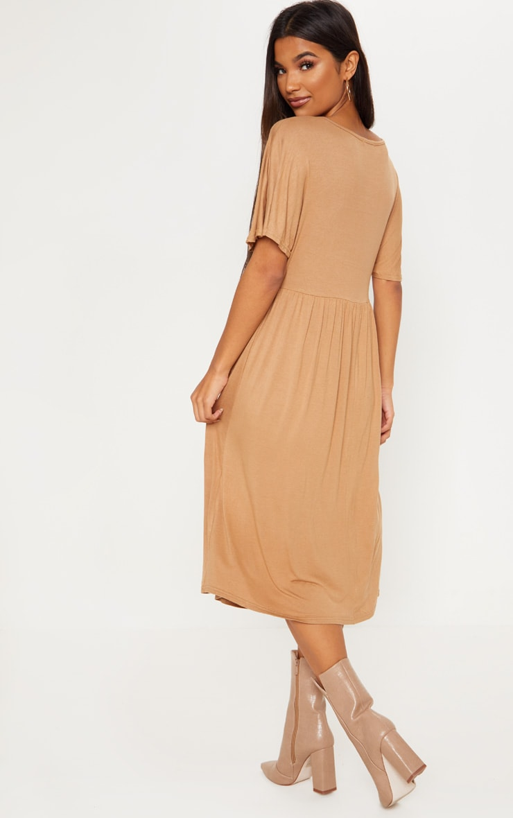 Camel Short Sleeve Midi Smock Dress 2