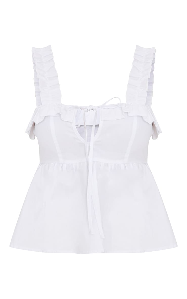 White Frill Detail Key Hole Cami Blouse  3