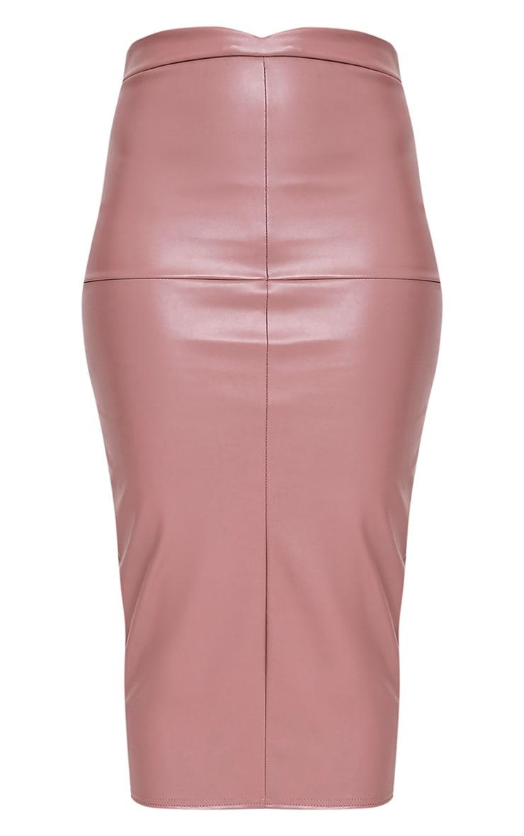 Eva Rose Faux Leather Panel Midi Skirt 3