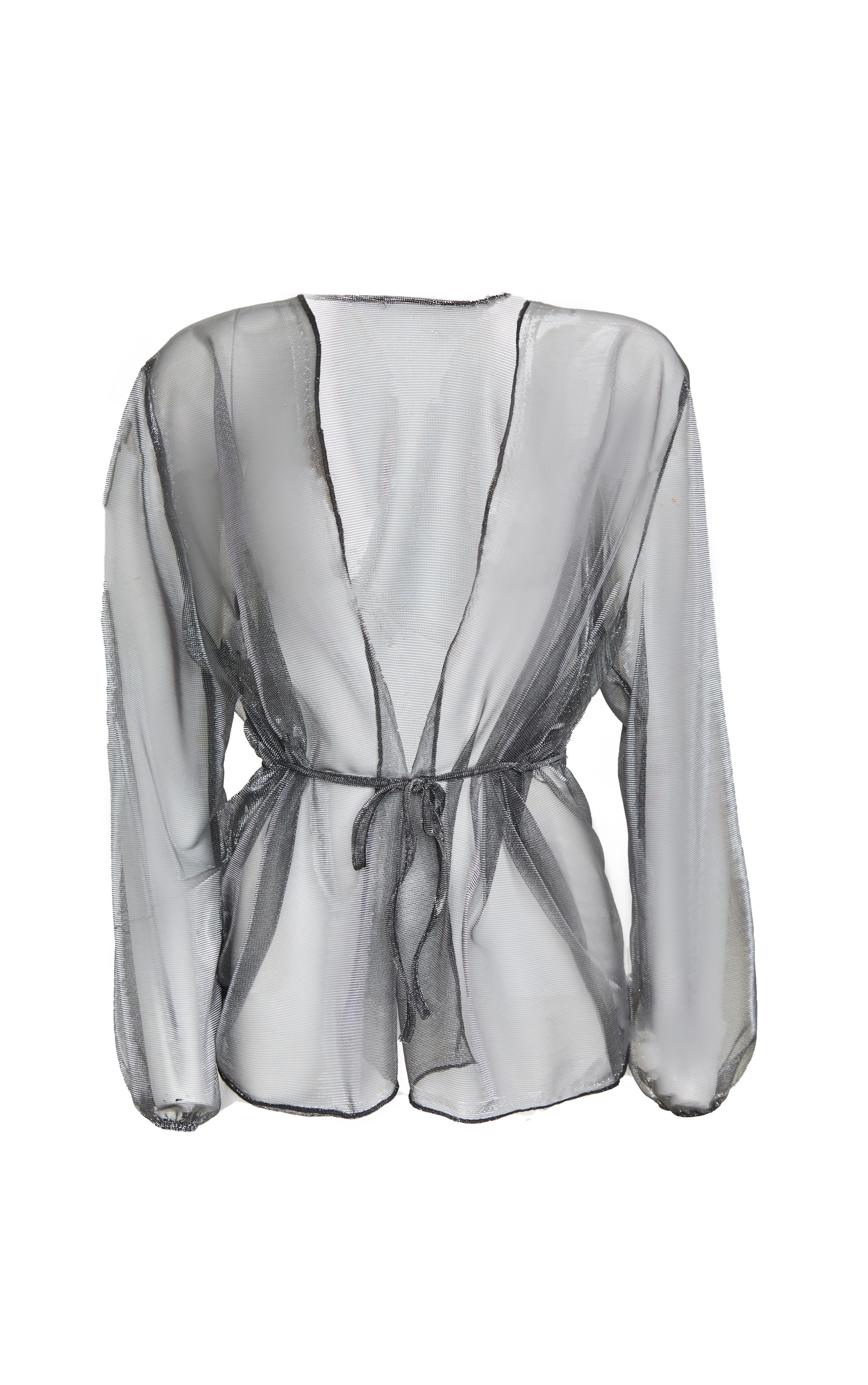 Silver Metallic Tie Front Blouse 3