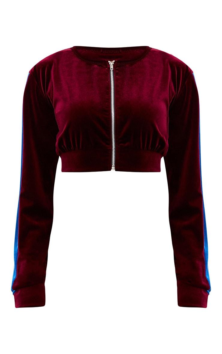 Maroon Velvet Contrast Stripe Cropped Jacket  3