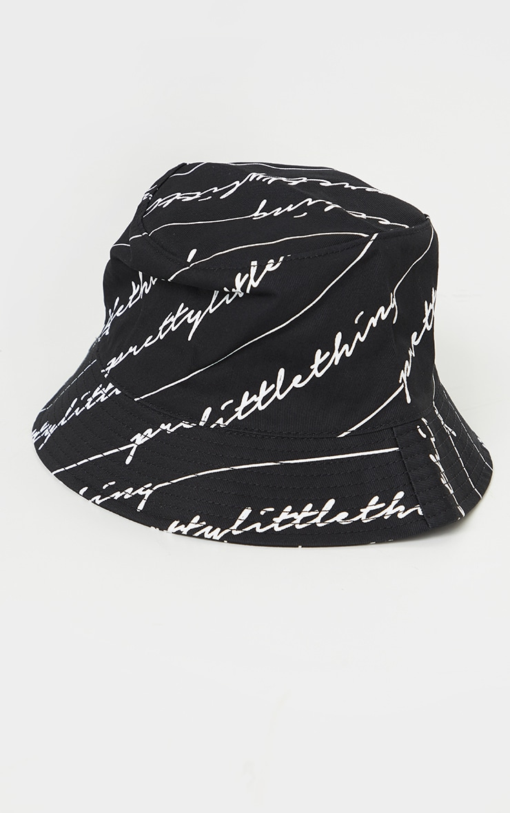 PRETTYLITTLETHING Black Scribble Bucket Hat 2