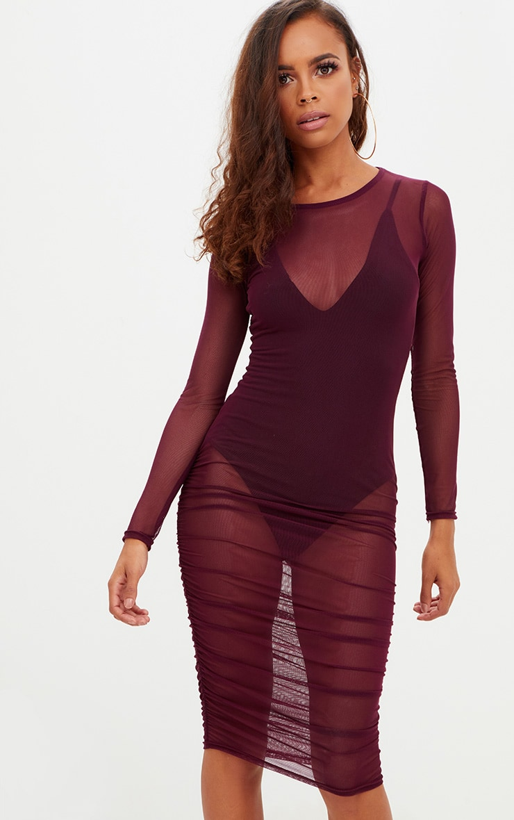 Petite Plum Mesh Ruched Midi Dress 1