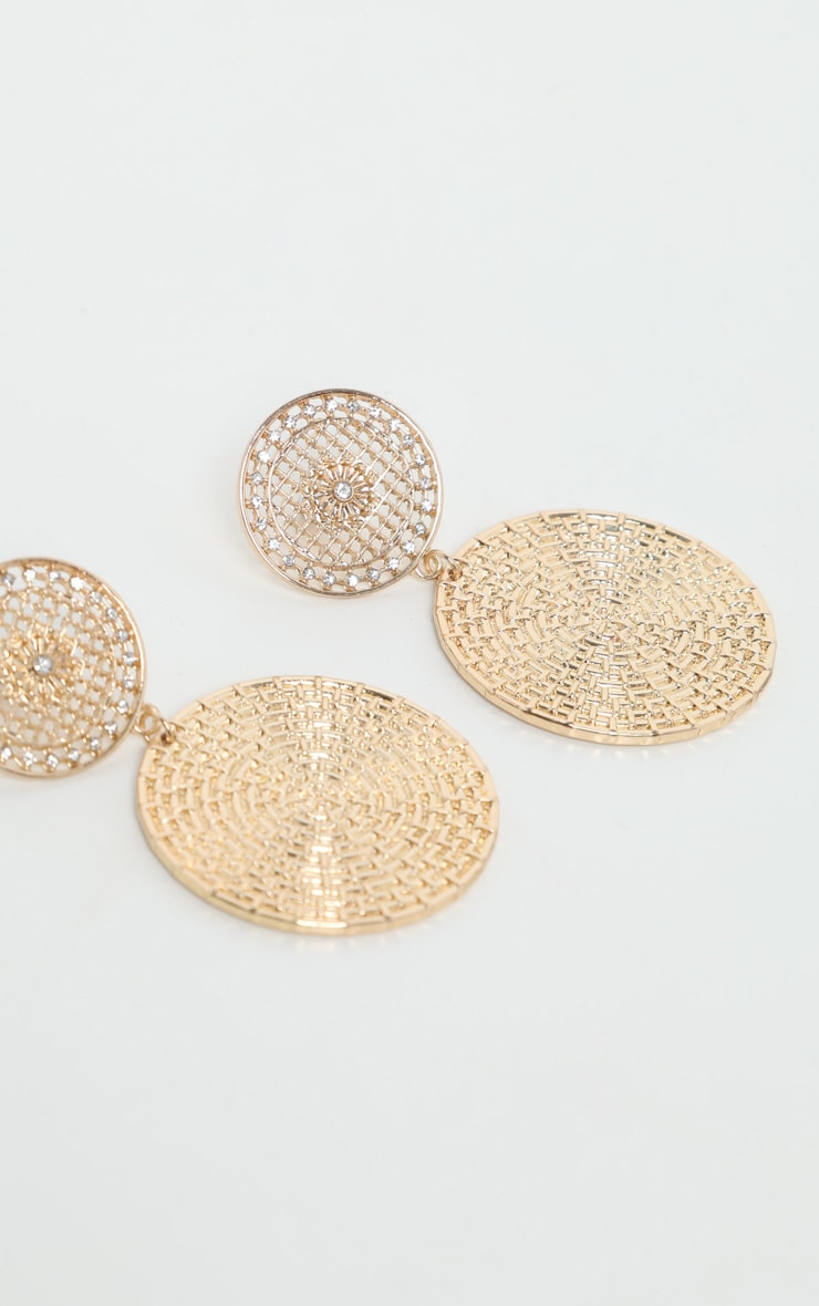 Gold Basket Textured Disc Drop Earrings 2