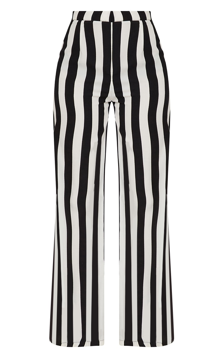 Petite Black Monochrome Stripe Wide Leg Pants 3