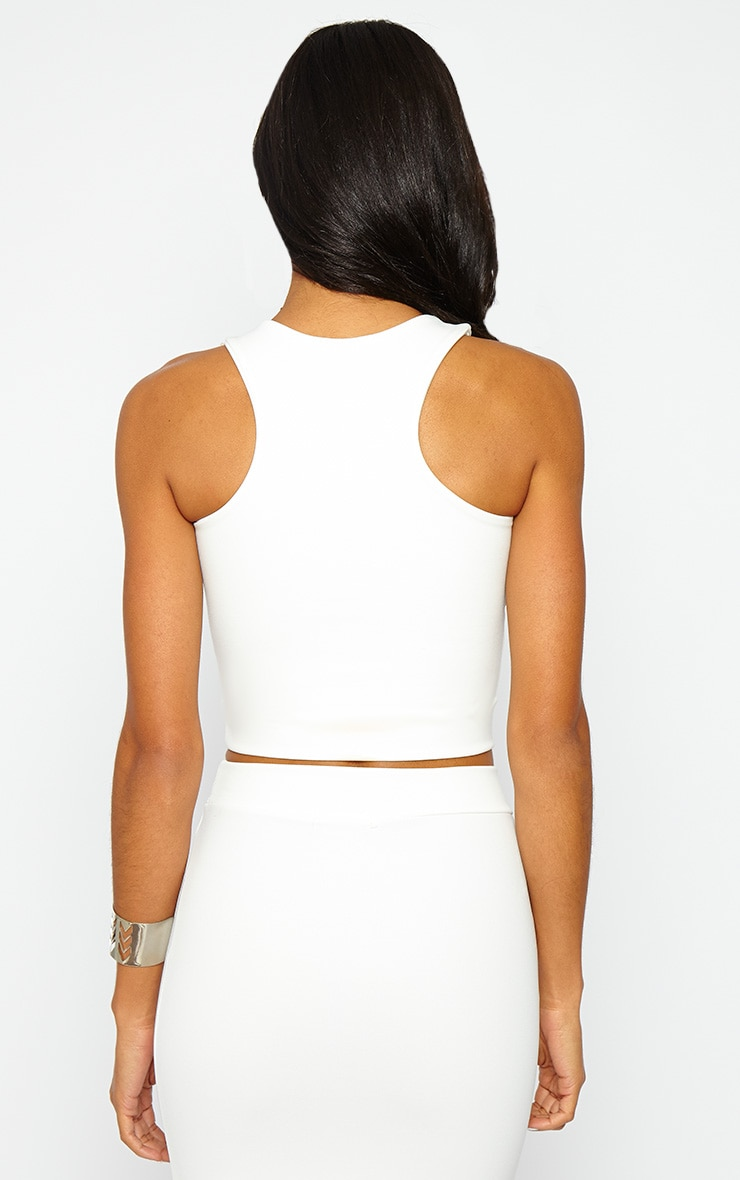 Janine Cream Sleeveless Crop Top 2