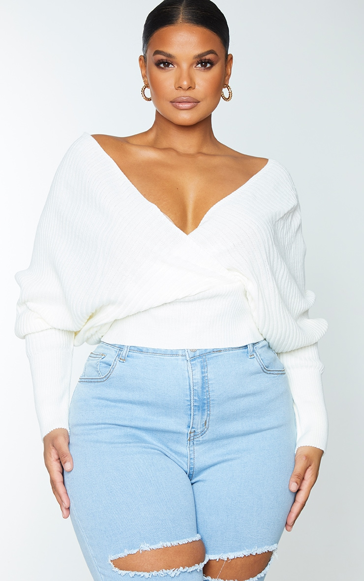 Plus Ivory Wrap Off The Shoulder Sweater 1