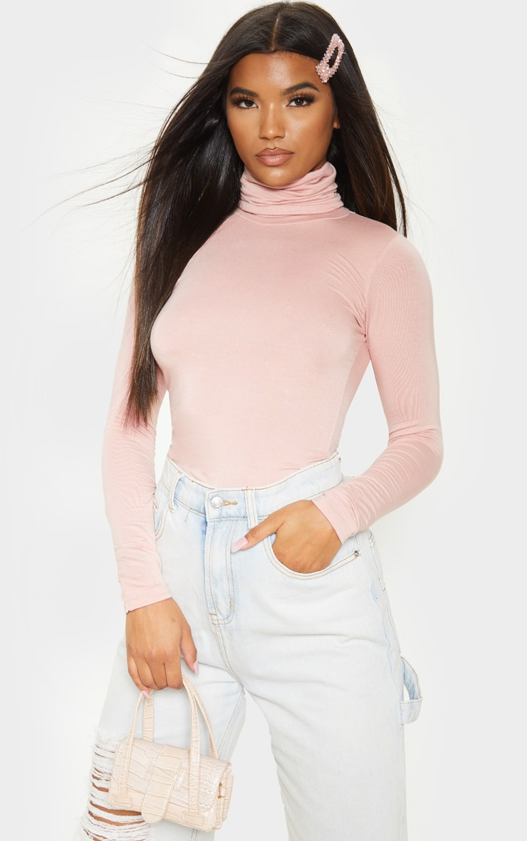 Basic Nude Long sleeve Roll Neck Top 1