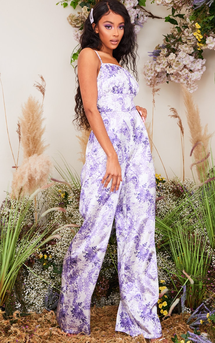 Lilac Porcelain Print Strappy Back Satin Jumpsuit 3