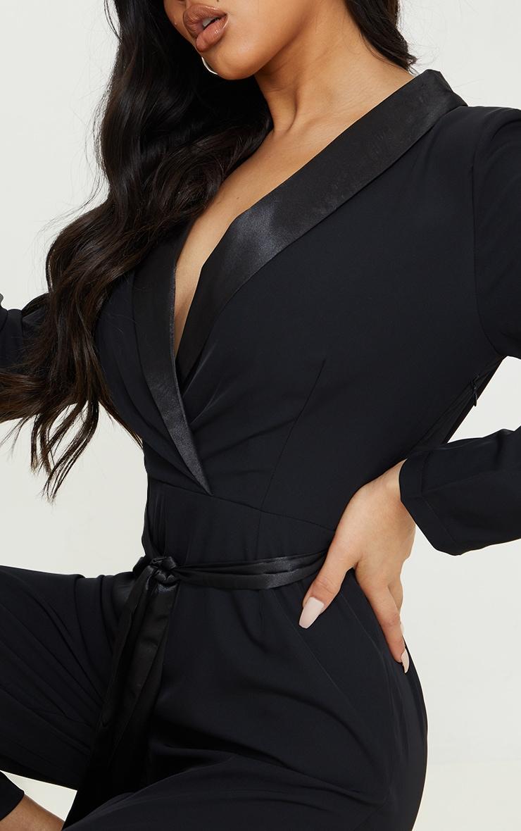 Black Satin Lapel Blazer Jumpsuit 4