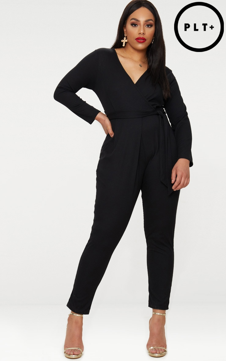 Plus Black Ribbed Wrap Front Jumpsuit
