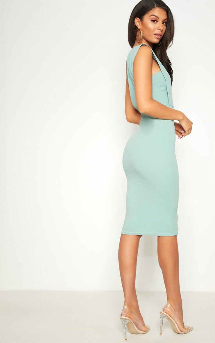 Mint One Shoulder Draped Midi Dress 2