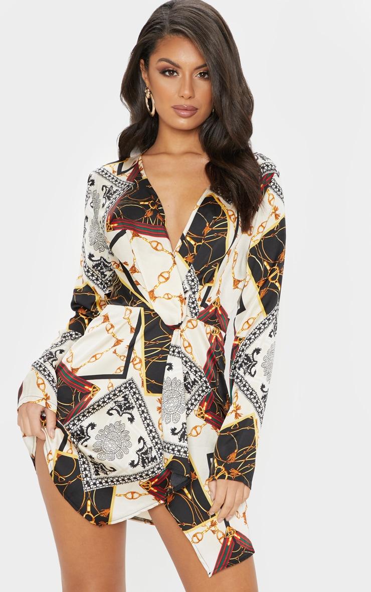 b3d93318febc White Chain Print Satin Long Sleeve Wrap Dress image 1