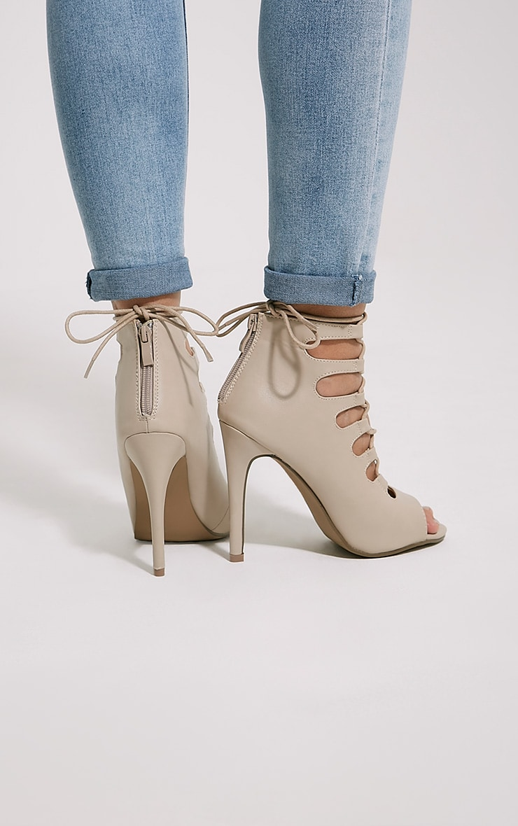 Tiggy Nude Lace Up Heeled Sandals 2