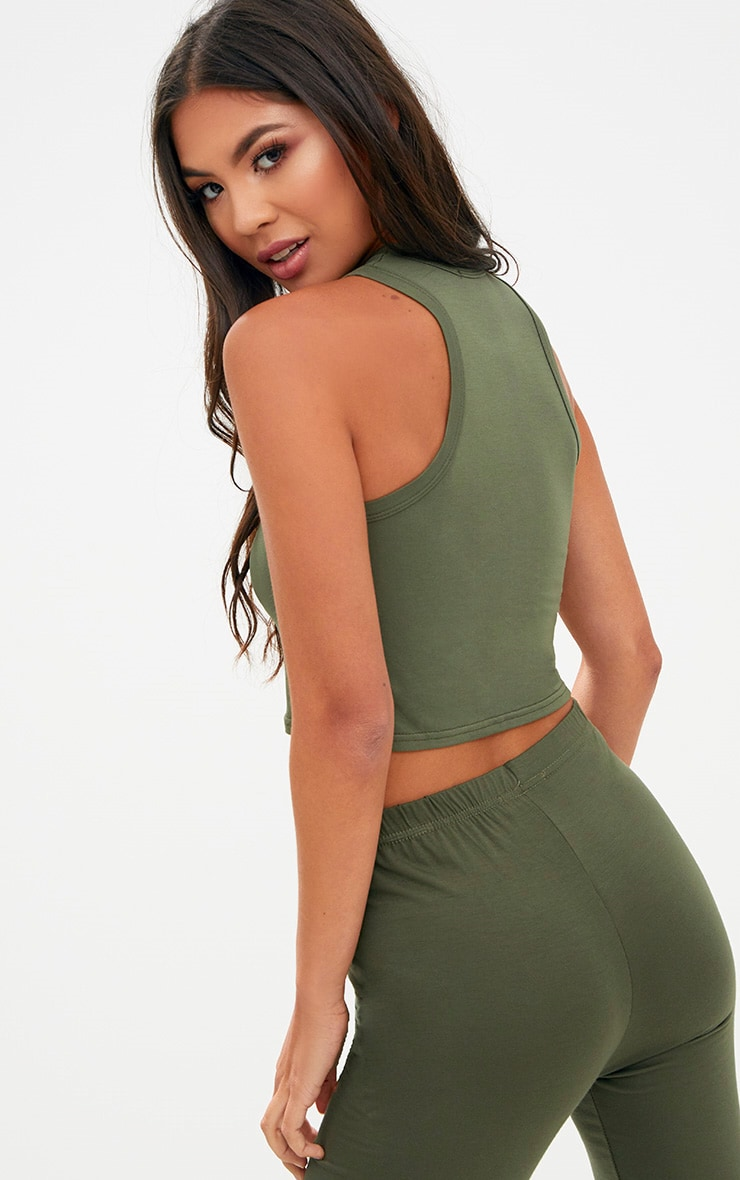 Basic Khaki Jersey Racerback Crop Top 2