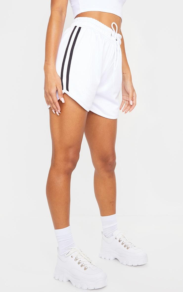 White Stripe Nylon Side Stripe Drawstring Shorts 2