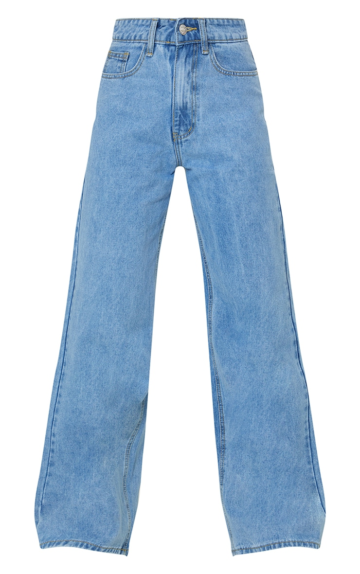 Light Blue Wash Light Weight Wide Leg Jeans 5