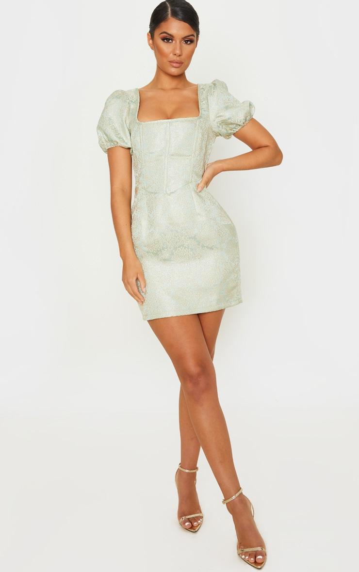 Mint Jacquard Short Sleeve Square Neck Bodycon Dress 4