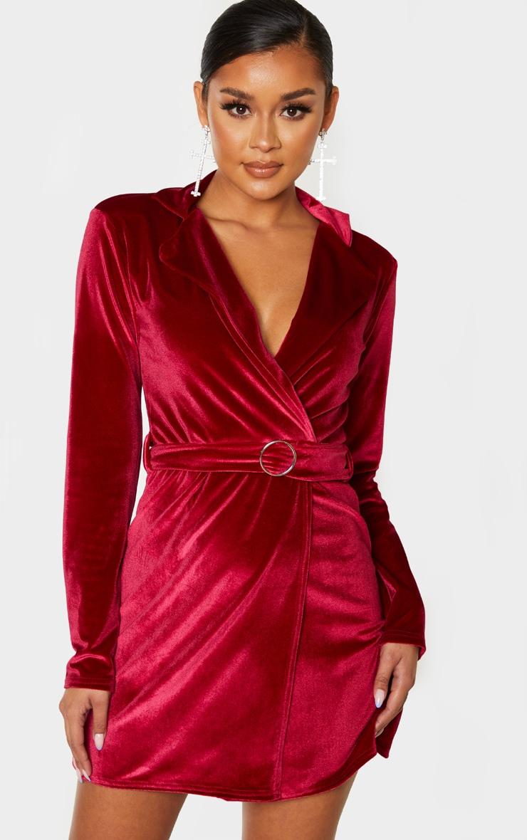Burgundy Velvet Ring Belt Blazer Style Bodycon Dress 4