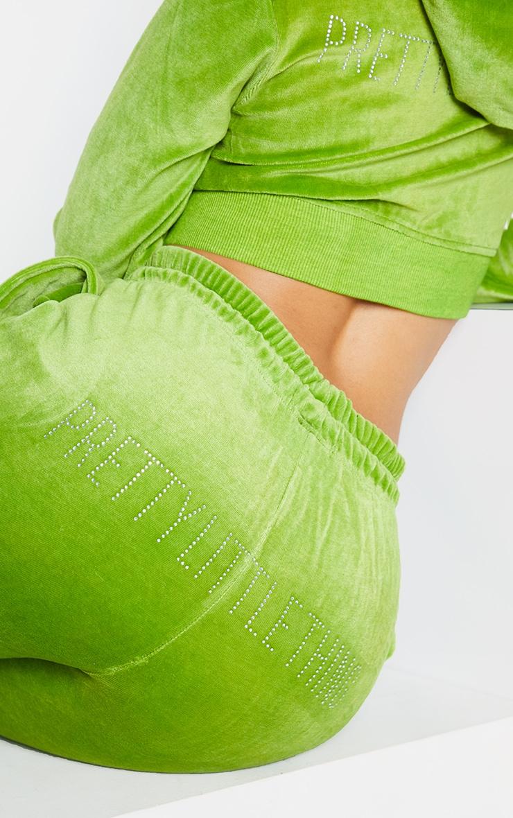 PRETTYLITTLETHING Shape Lime Velour Skinny Joggers 4