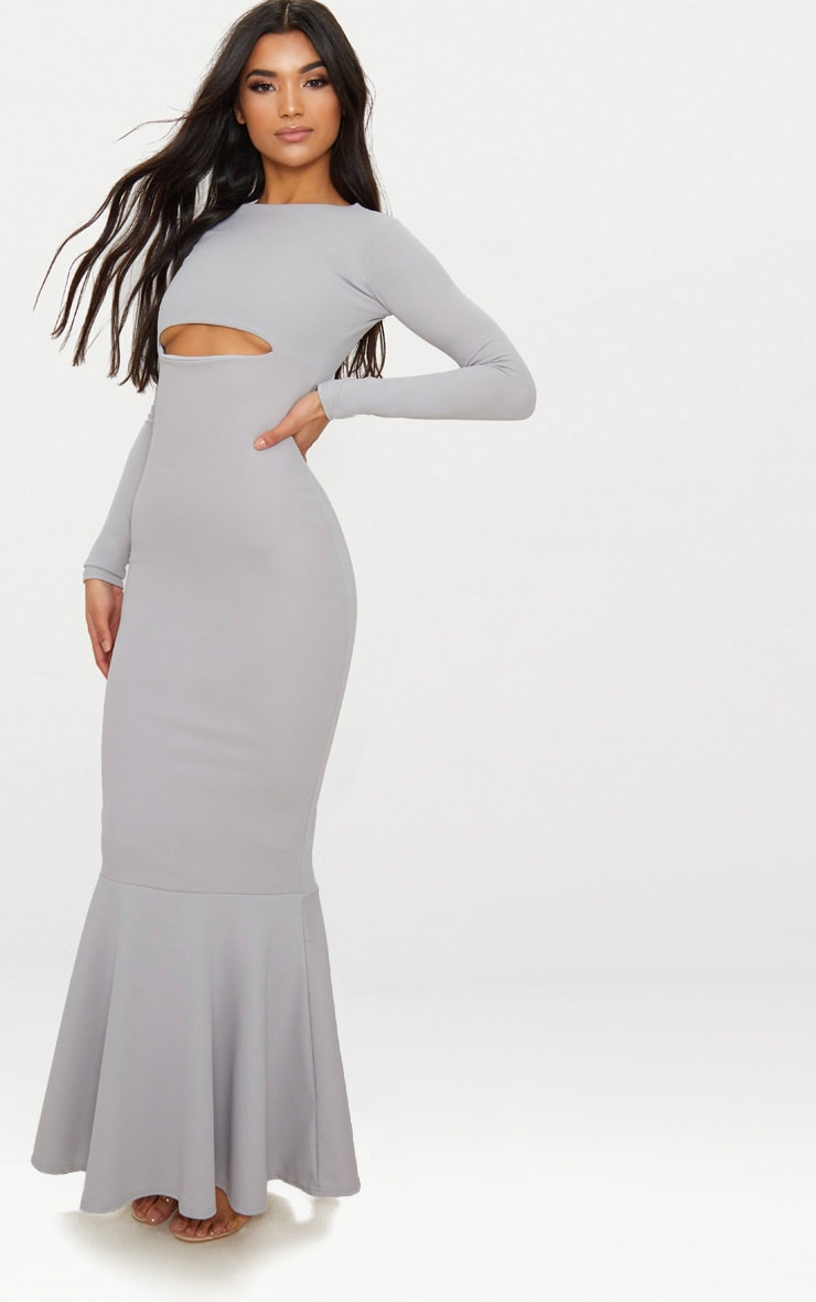 Ice Grey Cut Out Detail Long Sleeve Fishtail Maxi Dress 4