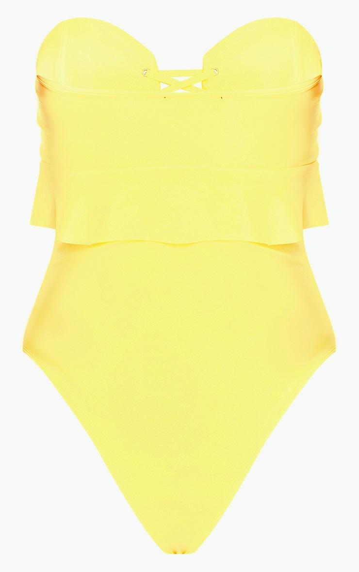 Lemon Bandeau Lace Up Frill Detail Swimsuit 4