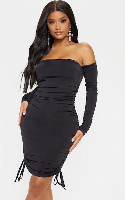 Black slinky ruched front square neck bodycon dress oops