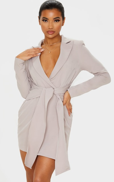 Grey Wrap Tie Blazer Dress