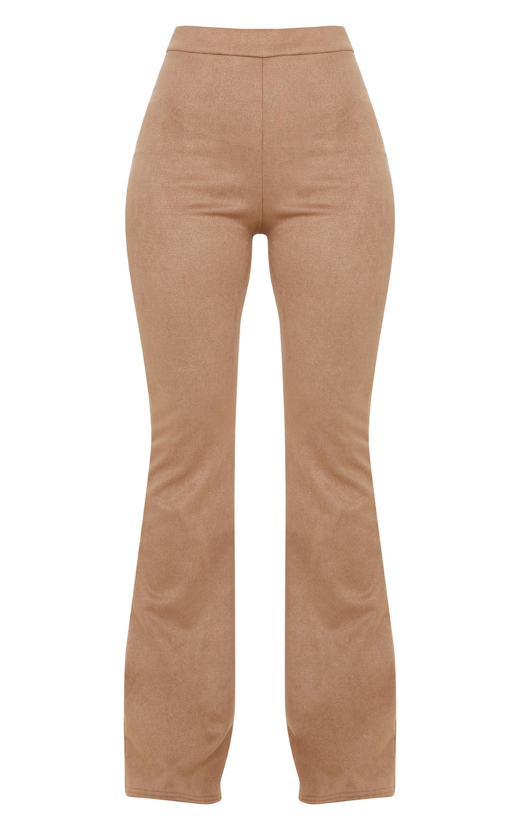 Stone Faux Suede Flare Trouser 3