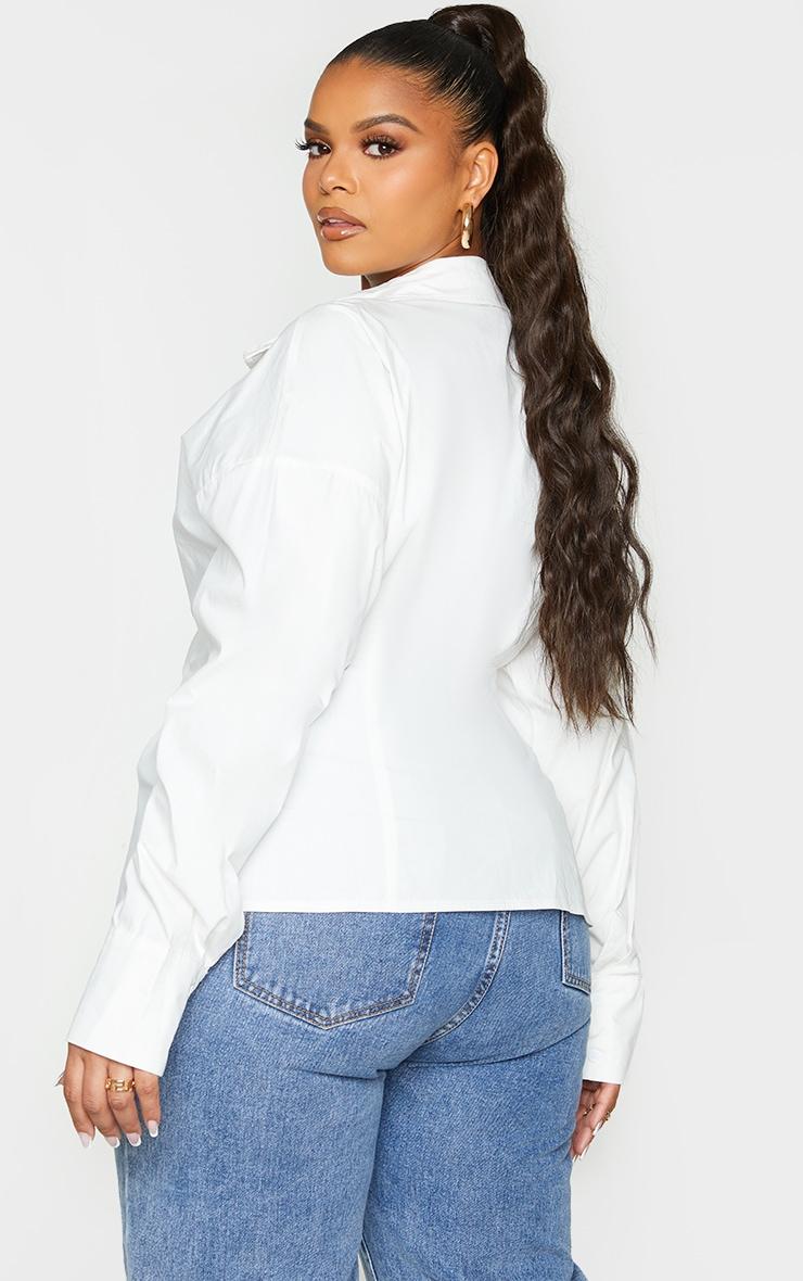 Plus White Tie Side Detail Poplin Shirt 2