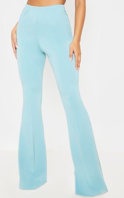 Dusty Turquoise High Waist Extreme Flare Long Leg Trouser