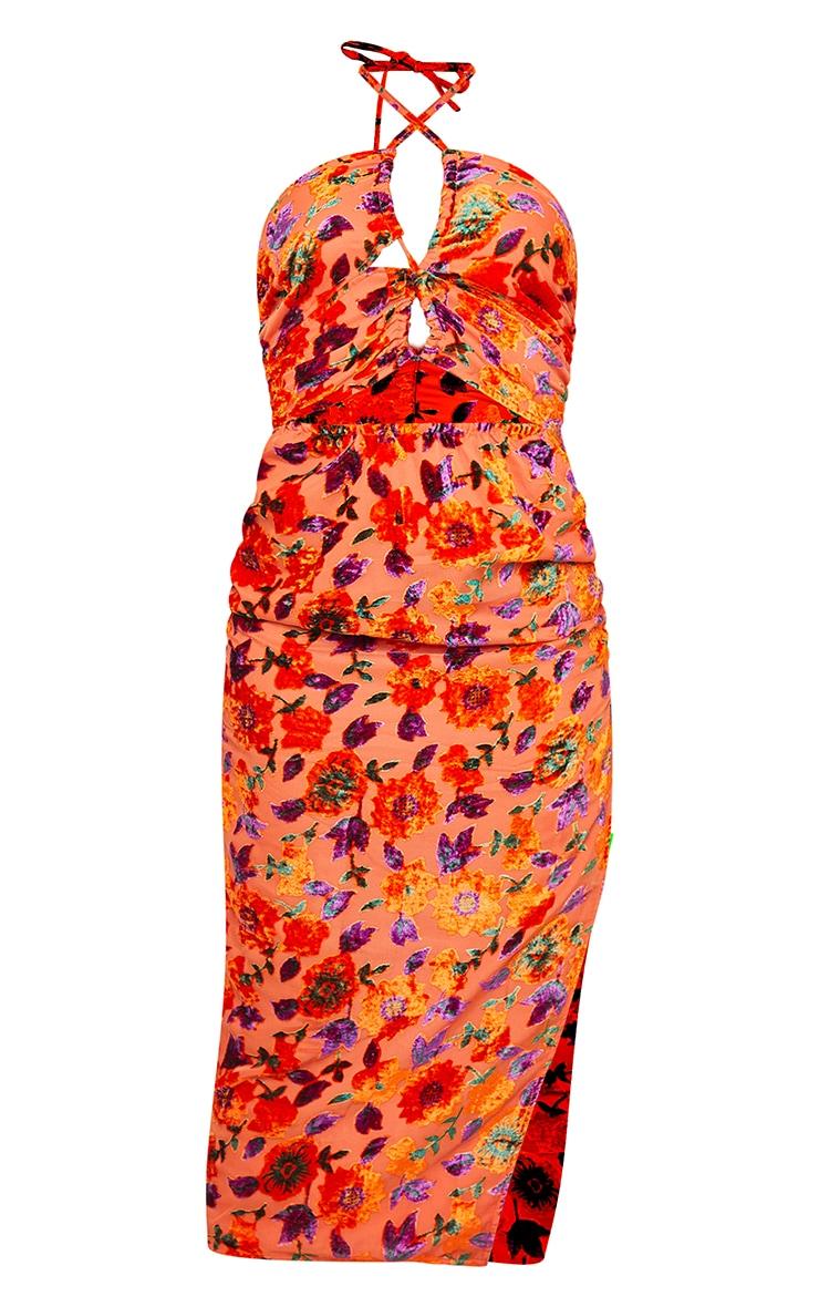 Orange Floral Devore Lace Up Halterneck Split Maxi Dress 5