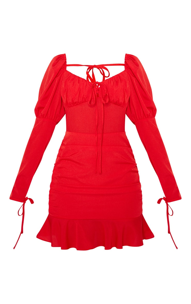Red Puff Shoulder Tie Bust Frill Hem Bodycon Dress 3