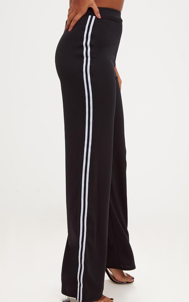Black Stripe Wide Leg Track Trouser 5