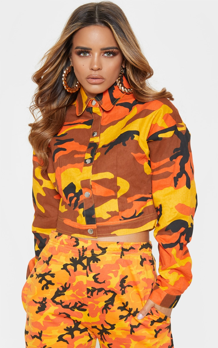 Petite Orange Cropped Camo Trucker Jacket 2