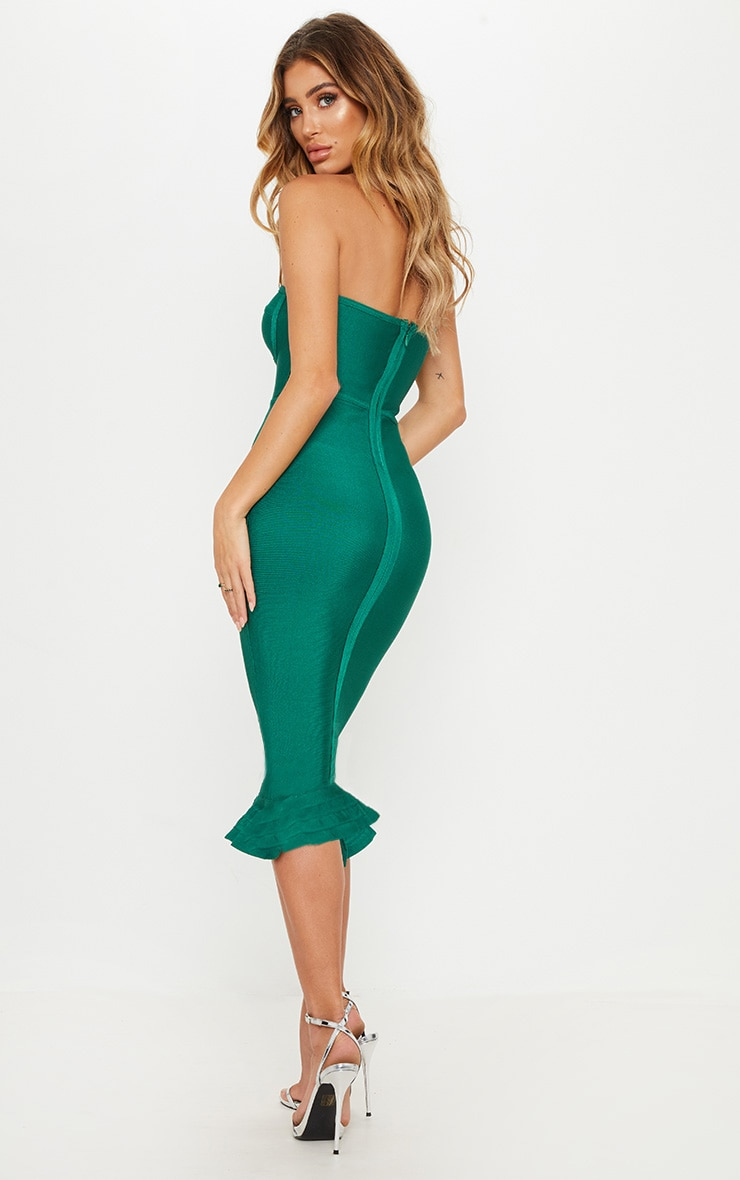 Green Bandage Frill Hem Midi Dress  2